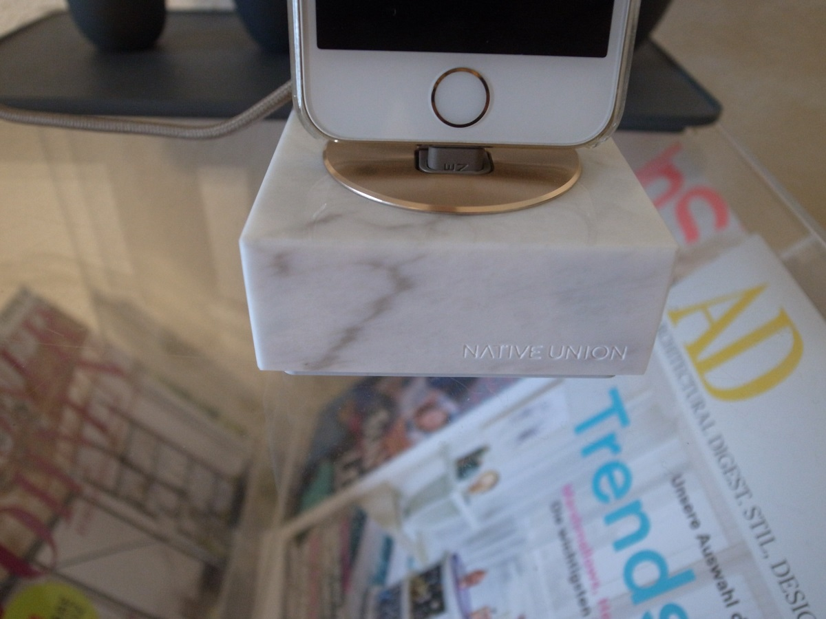 Native Union Genuine Marble Charging Dock with Lightning Cable